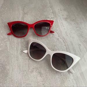 NWT Retro 1950s Red White Cat Eye Sunglasses
